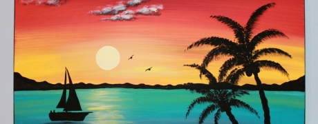 Cocktails & Creations - Tropical Beach Painting  (Ages 21 and up)