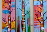 COCKTAILS & CREATIONS: Colorful Birch Trees on Canvas  (Age 21+)