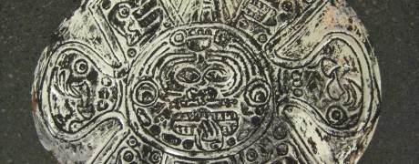 Mexican Metal-Tooled Sun Painting