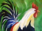 Cocktails and Creations - Rooster Painting on Canvas