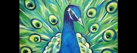 Cocktails & Creations: Peacock Painting on Canvas