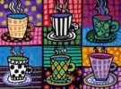 Cocktails and Creations Painted Patterned Coffee or Tea Cups on Canvas
